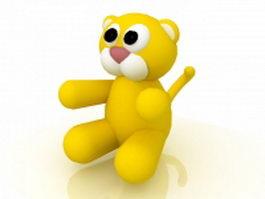 Yellow cartoon tiger 3d model