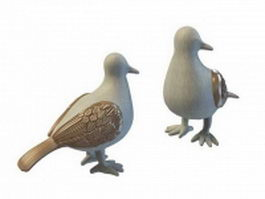 Stone pigeon statue 3d model