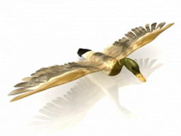 Wild duck flying 3d model