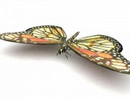 Yellow monarch butterfly 3d model