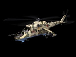 Mil Mi-24 attack helicopter 3d model