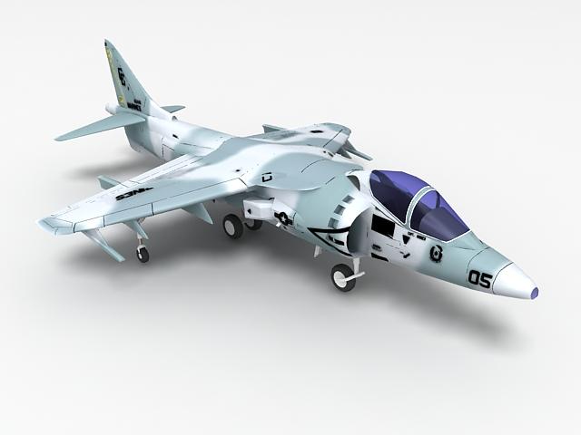 US Marine Harrier strike aircraft 3d model