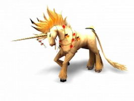 Yellow unicorn 3d model