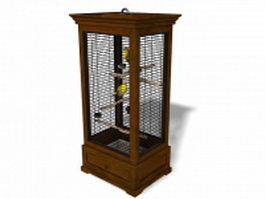 Vintage bird cage with birds 3d model