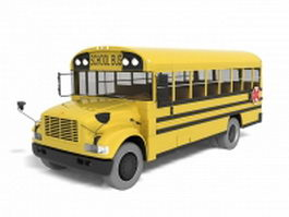 Yellow school bus 3d model