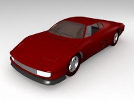 Red hatchback coupe 3d model