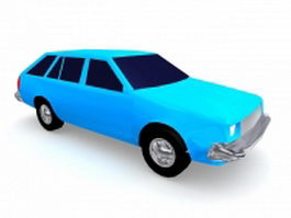 Blue station wagon 3d model
