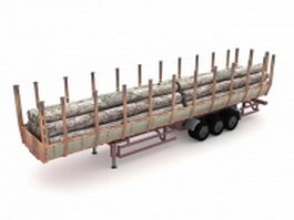Forestry log trailer 3d model