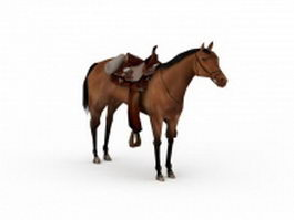 War horse with saddle 3d model