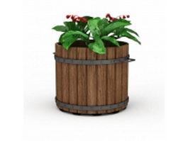Vintage wood planter 3d model