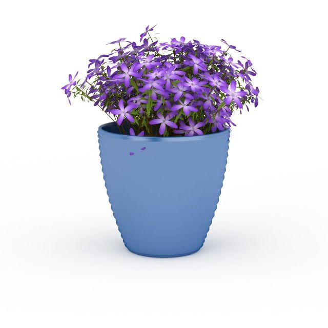 Blue Ceramic Planter Pot Purple Flowers 3d Model 3ds Max