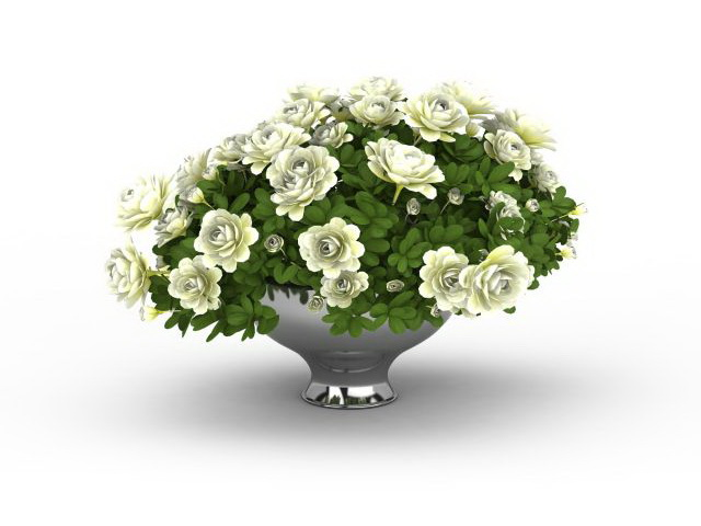 Flowers In Decorative Planter 3d Model 3ds Max Files Free