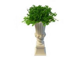 Tall garden planter and urn 3d model