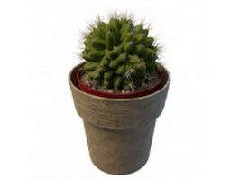Ball cactus planter pot 3d model