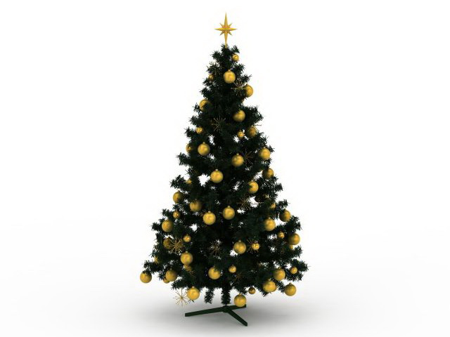 3dSkyHost: Decorated Christmas tree 3D Model