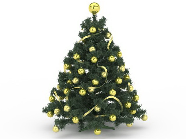3dSkyHost: Gold Ornaments Christmas tree 3D Model