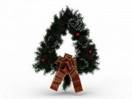 Triangle Christmas wreath 3d model