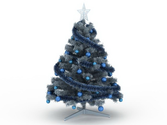 Blue Christmas Tree 3d Model 3ds Max Files Free Download
