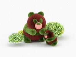 Panda topiary 3d model