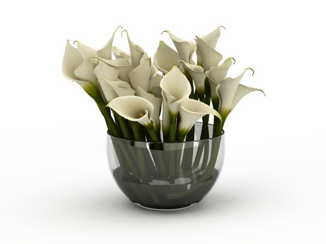 White Calla Lily Flower Arrangement 3d Model 3ds Max Files