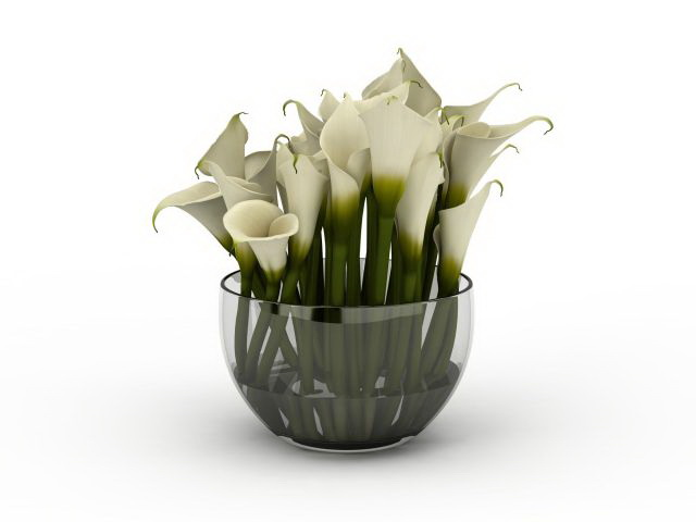 White Calla Lily flower arrangement 3d model 3ds max files ...