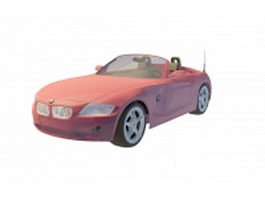 Red BMW convertible 3d model