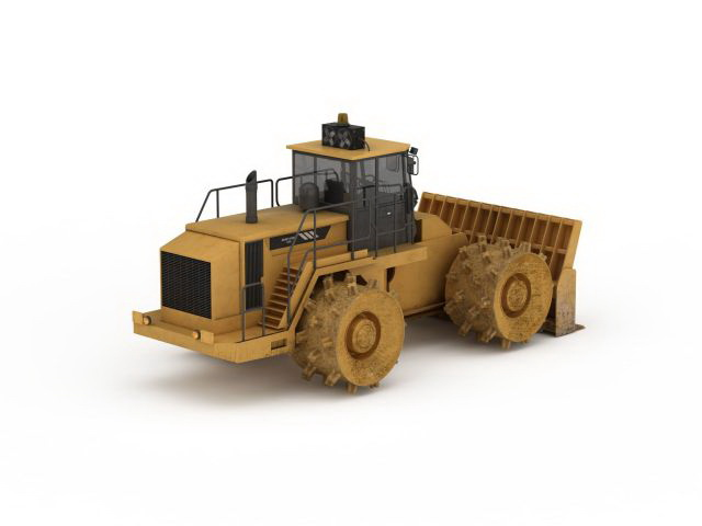 Commercial Compactor Wheel : Wheel compactor bulldozer d model ds max files free