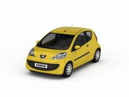 Peugeot 107 yellow 3d model
