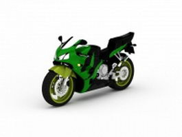 Green sport motorcycle 3d model