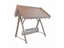 Wooden garden swing seat 3d model