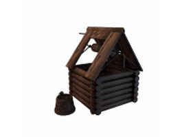 Vintage wooden well 3d model