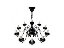 Black chandeliers 3d model