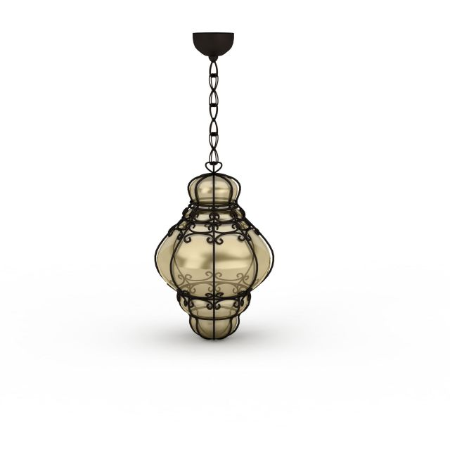 Antique Glass Pendant Lighting 3d Model 3ds Max Files Free