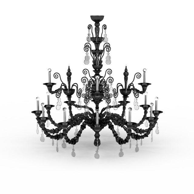 black chandelier candle lights 3d model 3ds max files free d