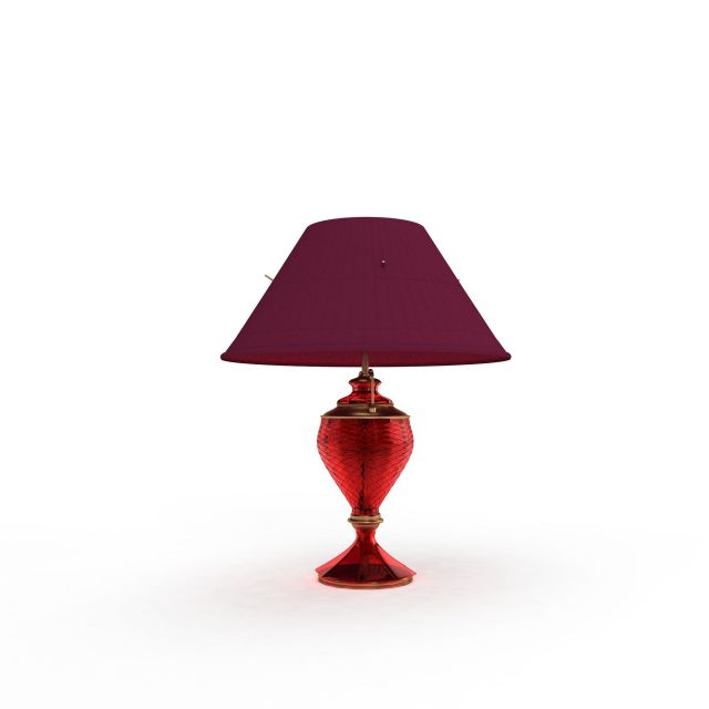 Red Glass Table Lamp 3d Model 3ds Max Files Free Download