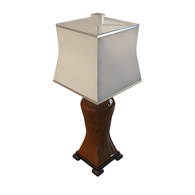 Antique Wooden Table Lamp 3d Model 3ds Max Files Free