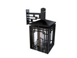 Outdoor wood lantern 3d model