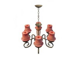 Rustic chandelier with red shades 3d model