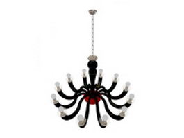 12 Arm black chandelier 3d model