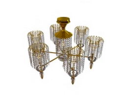 6 Arm chandelier with drop 3d model