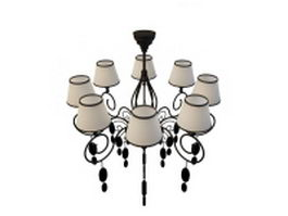 8 Arm chandelier with shades 3d model