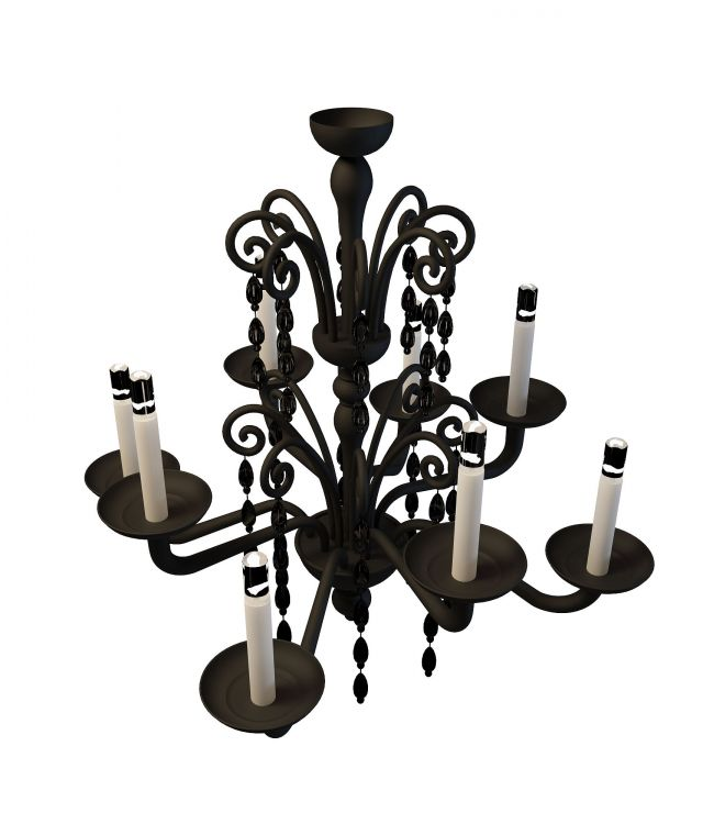 8 Light Wrought Iron Chandelier 3d Model 3ds Max Files Free Download