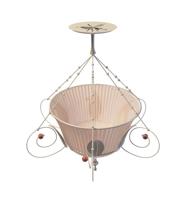 Basket pendant light 3d rendering