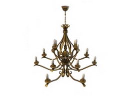 Bronze branch chandelier 3d model