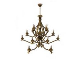 Bronze branch chandelier 3d model