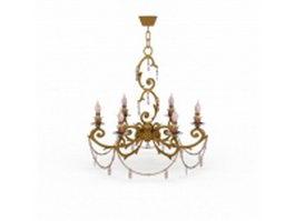 Antique brass flower chandelier 3d model