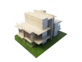 Concrete villa architecture 3d model