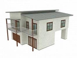 Semi detached stilt bungalow 3d model
