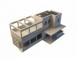 Modern cube architecture villa 3d model