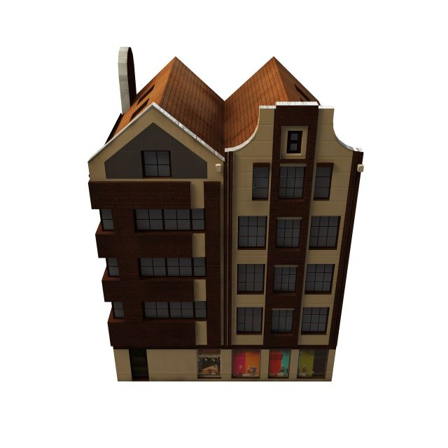 3d Model House Building Residential: Apartment Building Shop 3d Model 3ds Max Files Free